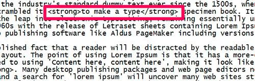 жирный шрифт добавлением тега strong картинка