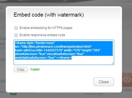 Код для вставки на веб-страницу