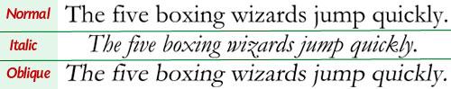 различие italic и oblique
