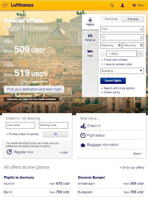 Версия сайта LuftHansa для планшетов
