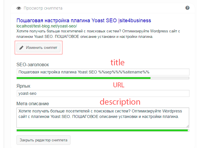 задание заголовка и мета-описания yoast seo