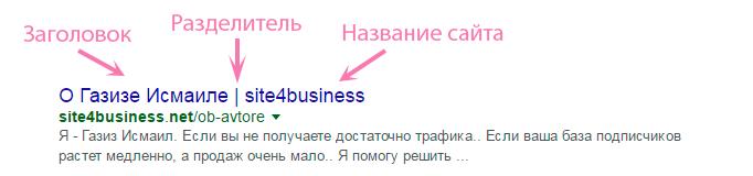 Заголовок и разделитель в поисковой выдаче